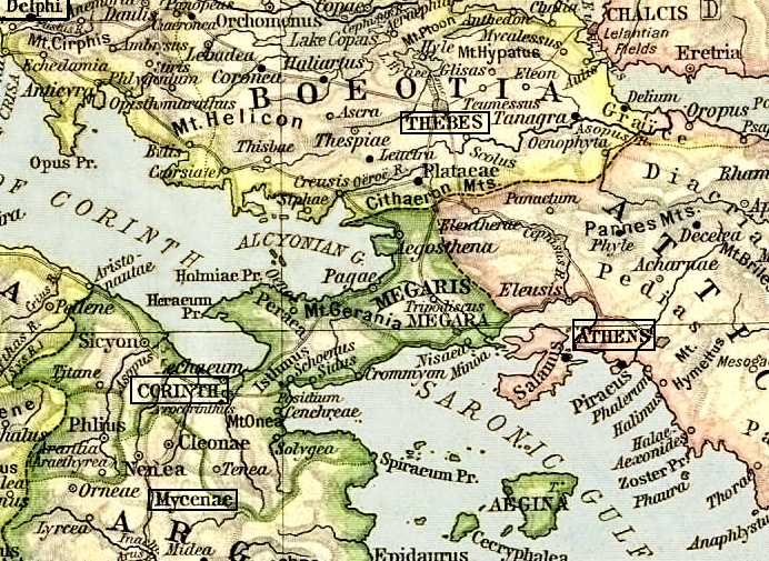 Ancient Greece Map Map Of Greece Ancient Greek And Iliad Studies - Map of the distance between athens sparta and the us